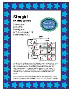"""Interest LevelGrades 6-10Reading LevelGrade level Equivalent:4.2LexileMeasure:590LStargirl. From the day she arrives at quiet Mica High in a burst of color and sound, the hallways hum with the murmur of """"Stargirl, Stargirl."""" She captures Leo Borlock's heart with just one smile."""
