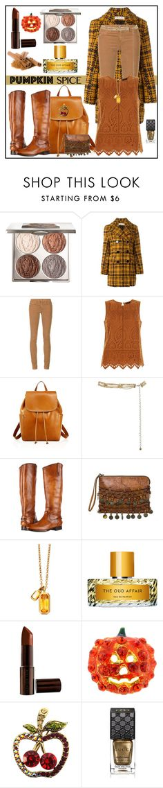 """""""Pumpkin Spice Style"""" by winscotthk ❤ liked on Polyvore featuring Chantecaille, Marni, AG Adriano Goldschmied, New Look, Frye, Patricia Nash, Astley Clarke, Vilhelm Parfumerie, Fashion Fair and Gucci"""