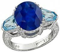 5.42ct Sapphire 1.50ct Aquamarine 1.50ct Diamond Engagement Ring
