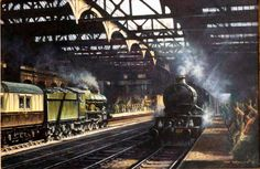 Snowhill Station (1) - Painting by Don Breckon Station 1, Hill Station, Transport Pictures, Pool Prices, Birmingham City Centre, Reading Stations, Train Art, British Rail, Great Western