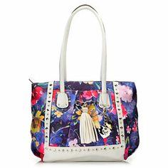 Kathy Van Zeeland Double Handle Multi Shaped Stud & Tassel Detailed Tote Bag
