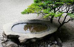 'Stone Basin Zen' Canvas Print by Skye Hohmann - Giardino Giapponese Small Japanese Garden, Mini Zen Garden, Japanese Garden Design, Water Garden, Garden Art, Japanese Gardens, Indoor Zen Garden, Japanese Garden Backyard, Garden Bathtub