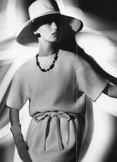 Dorothea McGowan in dress by Yves Saint Laurent, photo by William Klein,1962