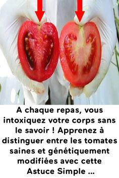 A chaque repas, vous intoxiquez votre corps sans le savoir ! Apprenez à distinguer entre les tomates saines et génétiquement modifiées avec cette Astuce Simple … Sushi, Japanese, Vegetables, Simple, Health, Ethnic Recipes, Fruits And Veggies, Tomatoes, Meal