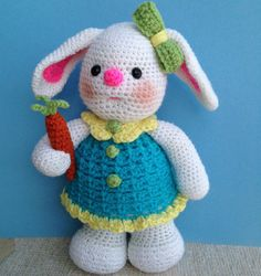 Browse unique items from on Etsy, a global marketplace of handmade, vintage and creative goods. Easter Crochet Patterns, Crochet Bunny Pattern, Crochet Crafts, Crochet Dolls, Crochet Projects, Crochet Penguin, Crochet Snowman, Crochet Animals, Miss Bunny