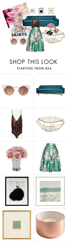 """Floral Skirts"" by jane-seymour-botanicals on Polyvore featuring interior, interiors, interior design, home, home decor, interior decorating, M.A.C, Quay, Kim Salmela and Eichholtz"