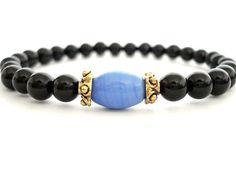 Onyx Meditation Bracelet Onyx Glass Brass by peaceofminejewelry, $25.00