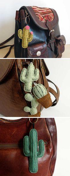 Embroid keychain cactus in felt. Petits porte-clefs brodés en feutrine, en forme de cactus. Hand-made #cactus #ad #garden #embroidery #urban #tropical #house #pinnsvinstudio