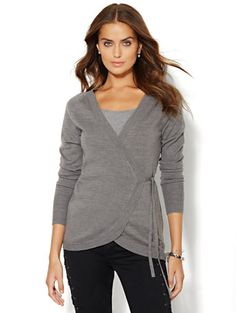 Tie-Front Wrap Sweater  - New York & Company