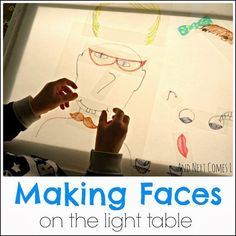 Making Faces on the Light Table - Projector - Ideas of Projector - Making funny faces on the light table from And Next Comes L Reggio Emilia, Sensory Lights, Overhead Projector, Projector Ideas, Licht Box, Make Funny Faces, Silly Faces, Light Board, Light Panel