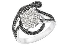 1/2 Carat Black & White Diamond Sterling Silver Ring