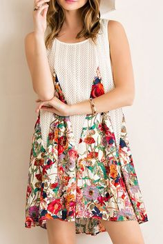 LA VIDA FLORAL PRINT TENT DRESS W/ LINING