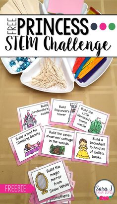 STEM Challenge Free STEM challenges cards with a princess theme! A fun spin on STEM centers for kindergarten and first grade kids! Free STEM challenges cards with a princess theme! A fun spin on STEM centers for kindergarten and first grade kids! Princess Activities, Fairy Tale Activities, Science Activities, Activities For Kids, Kid Activites, Science Resources, Science Education, Science Experiments, Kids Education