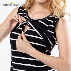 f367cd187a88a Green Home Cotton Striped Nursing Dress for Pregnancy Woman Short Summer  Maternity Dresses - Vietees Shop