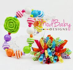 Bright Rainbow Necklace Girls Chunky Necklace by ModBabyDesigns, $29.50