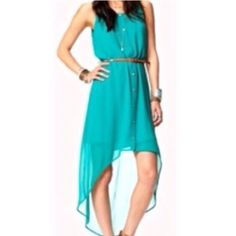 Teal high-low dress Very cute and flowy high-low dress. Pretty teal color. Size small. Comes with wrap belt Dresses High Low