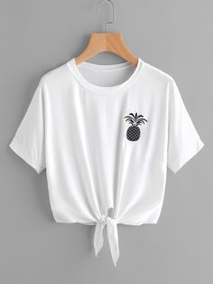 Pineapple Embroidered Tie Front Tee