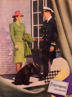 WW2 Forstmann fashion ad featuring a women in chartreuse and a Navy Officer (1944).