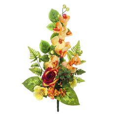 Ramos Todos los Santos. Ramo de cementerio con flores artificiales. Compuesto de orquideas naranja y una rosa roja con pequeñas flores y hojas. Alto 55 cms.