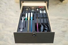 Drawer with pre-cut foam (and all utensils) comes stock