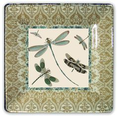 "dragonfly decoupage plate: 10""square"