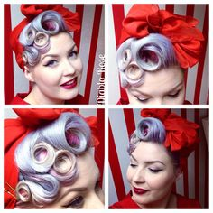 Retro Hairstyles Yesterday's hair do, swirly whirly fanciness! Wearing Cherry Bomb Lip Paint from Fancy Hairstyles, Vintage Hairstyles, Wedding Hairstyles, High Bun Hair, Hair Buns, Rockabilly Hair Tutorials, Retro Updo, Lilac Hair, Pin Up Hair