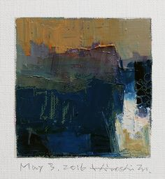 May 3, 2016 - Original Abstract Oil Painting - 9x9 painting (9 x 9 cm - app. 4 x 4 inch) with 8 x 10 inch mat