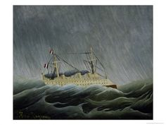 Painting by Rousseau of ship caught in a storm at sea.