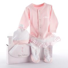 "Personalized Big Dreamzzz Baby Ballerina Two-Piece Layette Set in ""Studio"" Gift Box"