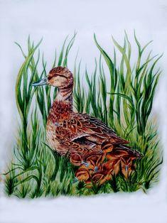 Mama Duck And Ducklings, Silk Art, Duck Painting Duck And Ducklings, Silk Art, Nature Animals, Rooster, Sunshine, Bird, Painting, Birds, Painting Art