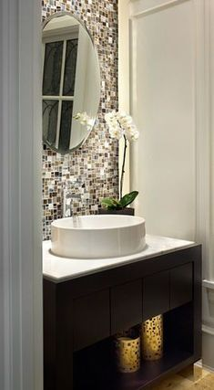Love thick small bathroom backsplash idea with white cabinetry Downstairs Bathroom, Bathroom Renos, Bathroom Storage, Bathroom Ideas, Master Bathroom, Bathroom Vanities, Bath Ideas, Bathroom Remodeling, Remodeling Ideas