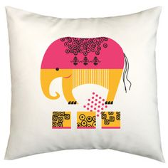 Fun elephant pillow cover - great for a kids room.