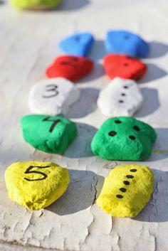 Diy juego de números con piedras de colores | DEF Deco - Decorar en familia