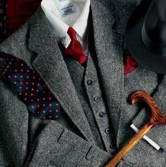 Three Piece Grey Tweed Suit......