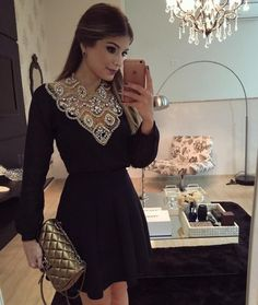 Black V neck decorated Party Dress Modest Dresses, Cute Dresses, Beautiful Dresses, Casual Dresses, Short Dresses, Prom Dresses, Formal Dresses, Cotton Dresses, Mode Abaya