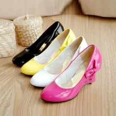 $6.94 Women's Fashion Wedge Shoes New Kitten Heels Cute Bow Synthetic Leather Pumps
