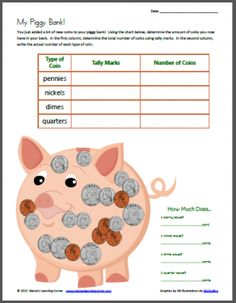 mfw 30 My Piggy Bank -- Tally Mark Worksheet Using Coins Math For Kids, Craft Activities For Kids, Kid Crafts, Math Activities, Math Games, Big Kids, Learning Money, Learning Time, Kids Learning