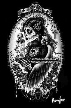 Gothic ZombieRockabilly OWL dark Art Print by Marcus Jones Arte Cholo, Cholo Art, Chicano Art, Graffiti Art, Zombie Pin Up, Catrina Tattoo, Sugar Skull Art, Sugar Skulls, Day Of The Dead Art