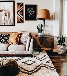 ♕ insta and pinterest @amymckeown5 Cute living room. Love the cactus and rug!