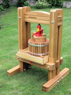 Homemade cider press powered by hydraulic jack.