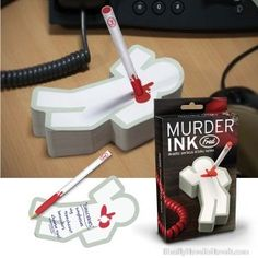 MURDER INK (deadly serious sticky notes)    This 300-page sticky notepad is perfect for poison pen notes, letters of resignation, hit lists, and office to-do's. Murder, Ink comes complete with blood spattered pen, so it's sure to make a statement on your desk right beside that suspiciously sharp letter opener. Each pad and pen is packed in a full-color illustrated giftbox.    Measures: 6.75 inches long x 3.75 inches wide x 1 inch deep