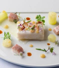 Soy and butter poached halibut, pickled apple, smoked eel – Kikkoman UK - Anrichten Eel Recipes, Halibut Recipes, Seafood Recipes, Pickled Apples, Homemade Sandwich, Great British Chefs, Fish Dishes, Seafood Dishes, Molecular Gastronomy