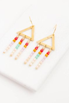 Triangle Chandeliers Brass Triangle Earrings White Fringe