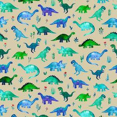 Dinosaur Fabric - Tiny Dinos in Blue and Green on White Small Print by micklyn - Dinosaur Fabric with Spoonflower - Printed on Minky Fabric by the Yard Dinosaur Fabric, Cute Dinosaur, Dinosaur Party, Nursery Fabric, Minky Fabric, Dinosaur Wallpaper, Watercolor Fabric, Watercolor Design, Turquoise Fabric