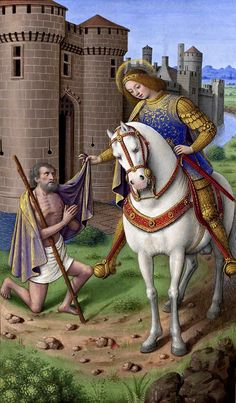 Saint Martin of Tours cutting his cloack in two, miniature from the Grandes Heures of Anne of Brittany, f. 357, (16th century)