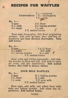 Vintage Recipes For Waffles