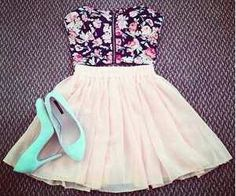 Floral Crop Top. Mint Heels. Tulle Skirt. Perfection. Teen Fashion. By-Iheartfashion14♥ →follow←