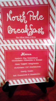 Our North Pole Breakfast Menu