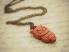 Owl Necklace  Brown Turquoise Owl Pendant by ColorfulJewelry4U