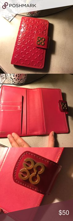 "COACH Agenda / Calendar / Address Book COACH Agenda / Calendar / Address Book. I purchased this from a FULL price Coach store I'd say in 2012. I used it for about a year or less due to I tend to write larger than most so I needed a larger size. It fits perfect in your purse 👛 It is Patent PINK leather with GOLD ""C""s and snap closure. It excellent condition! I take super good care of my expensive pieces! 💁🏼👑""I'm like Carrie Bradshaw, I like my money in my closet!"" SIZE 7in H x 4.5in W…"